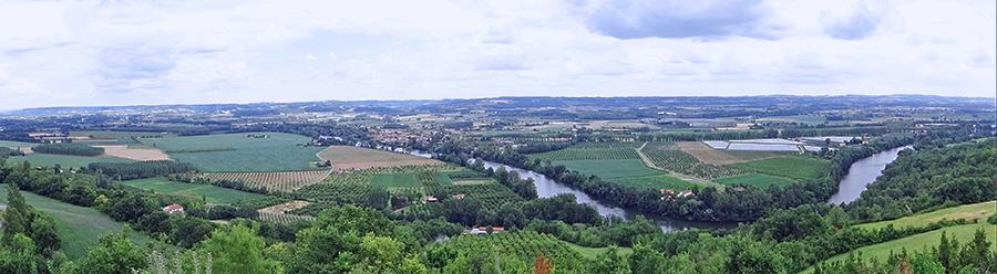 Vue de la vallée du Lot depuis Laparade