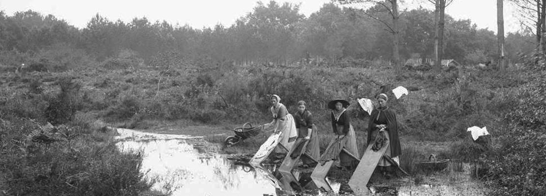 Les lavandières à Labouheyre - Crédit photo: Félix Arnaudin, vers 1890.