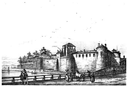 Le château de Dax, avant sa démolition en 1891.