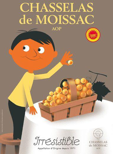 L'identité visuelle actuelle du chasselas rend hommage à l'affichiste Firmin Bouisset, originaire de Moissac.