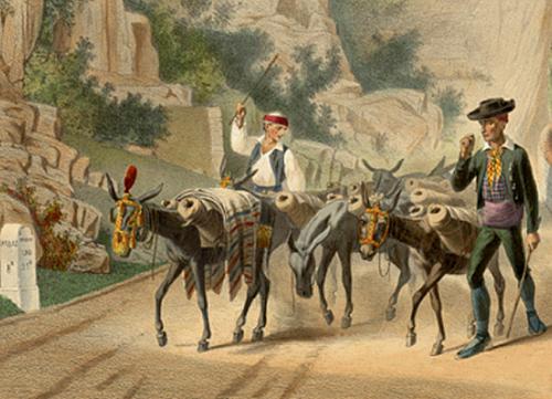 Caravane muletière chargée de jarres de vin sur le chemin de Saint-Jacques
