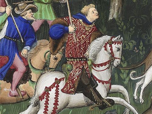 Gaston Phébus à la chasse au lièvre - miniature du Maître de Bedford, tirée du Livre de chasse, vers 1407, Paris, BnF, Fr.616, fo 89 vo.