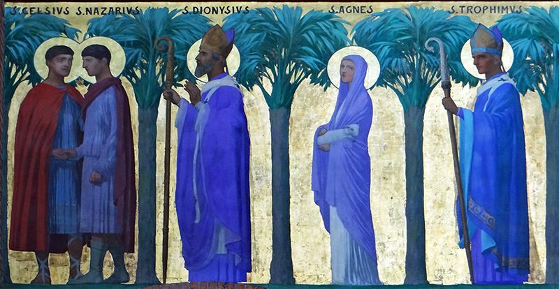 peinture de la procession des saints en l'église sainte-Catherine de Villeneuve-sur-Lot