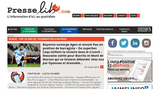 capture d'écran du site presselib'